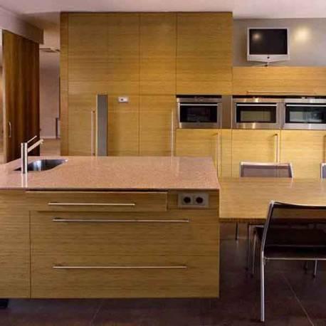 Küchenplatte Fronten in 5 mm Bambus vertikal coffee