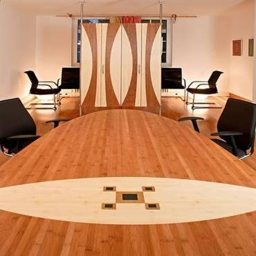 Intarsien verarbeiteter 5-schichtiger Konferenztisch horizontal coffee 40 mm