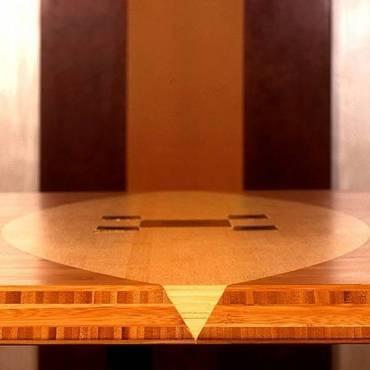 Büro Konferenztisch aus 5-schicht Bambus massivplatte mit Intarsien